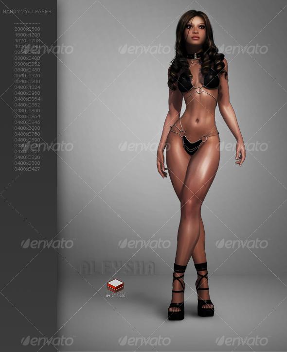 Aleysha Rendering Pose01 - People Illustrations