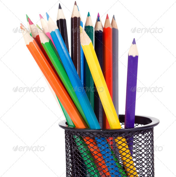 holder full of colored pencils - Stock Photo - Images