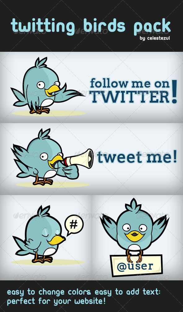 Twitting Birds Pack - Characters Vectors