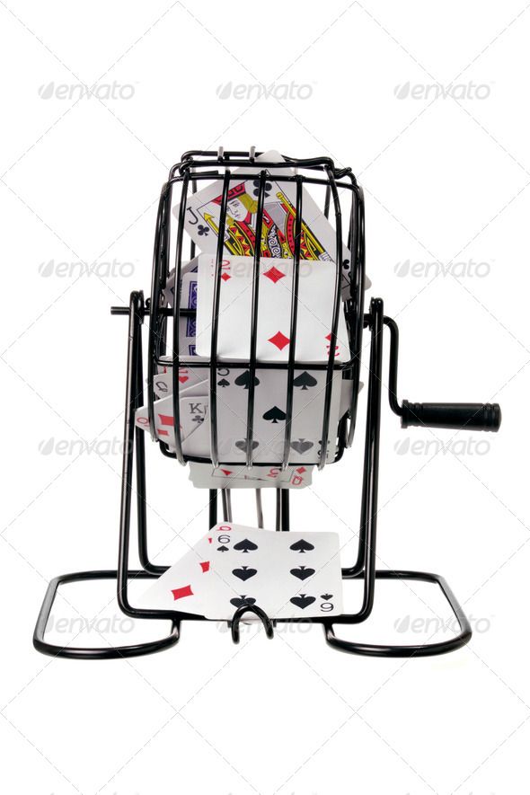 Bingo Game Cage with Playing Cards - Stock Photo - Images