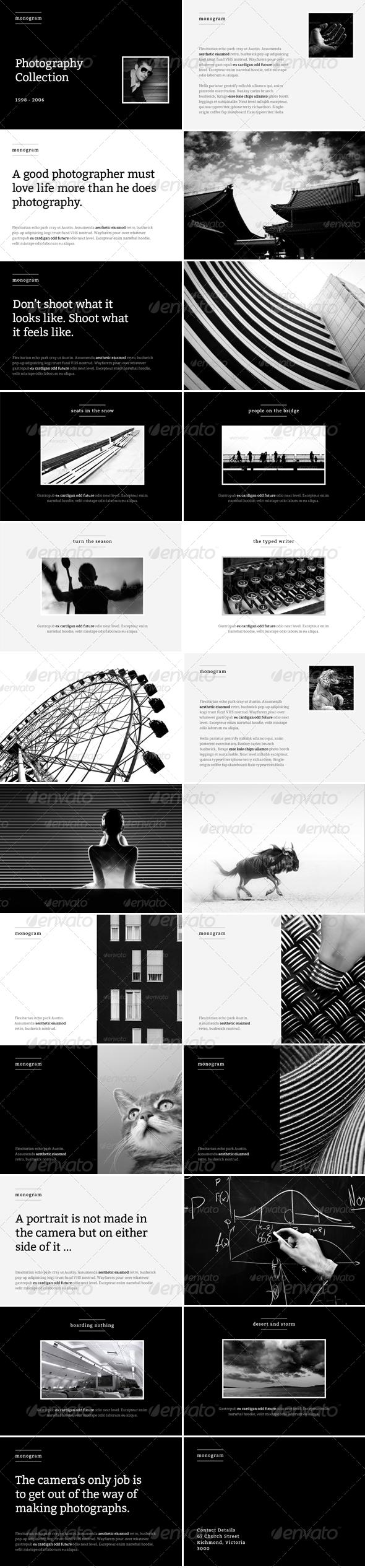 Monogram - Photo Album or Folio Template - Photo Albums Print Templates