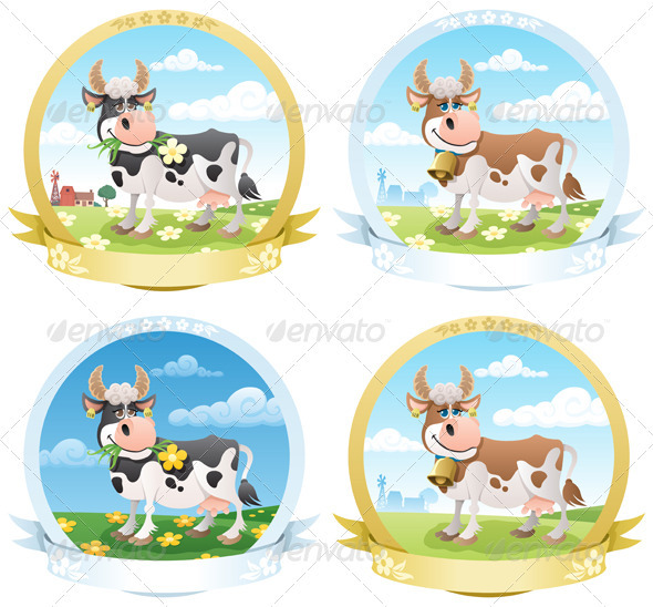 Dairy Products Labels  - Food Objects