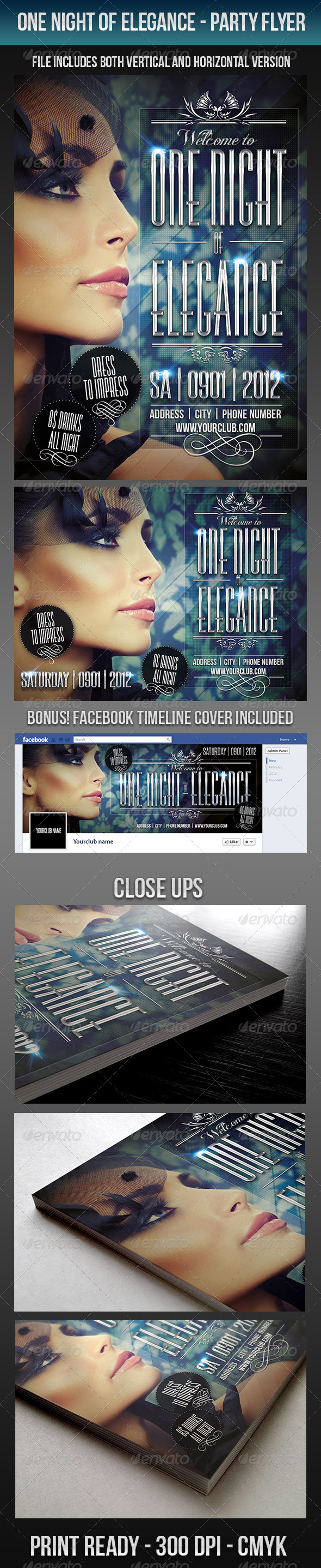 One Night Of Elegance Party Flyer - Clubs & Parties Events