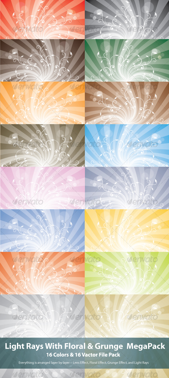 Light Rays With Floral MegaPack - Backgrounds Decorative