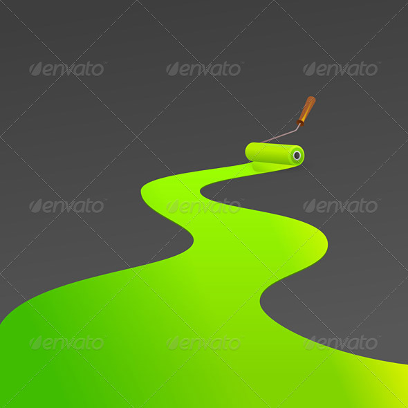Green painting roller - Decorative Vectors