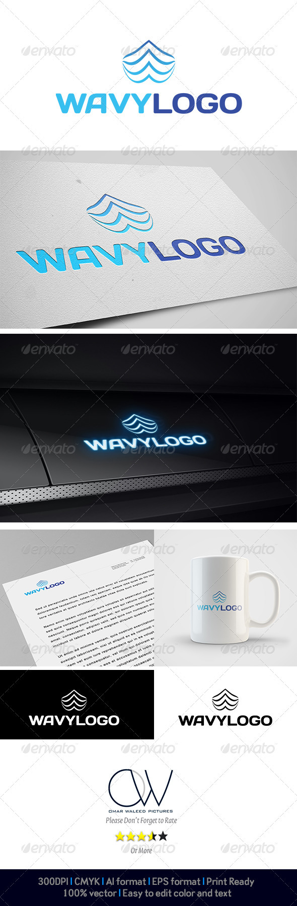 Wavy Logo - Abstract Logo Templates
