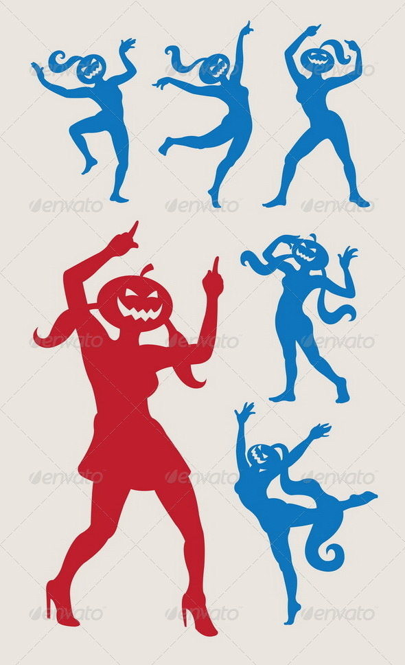Dancing Pumpkins Silhouette Vector - Halloween Seasons/Holidays