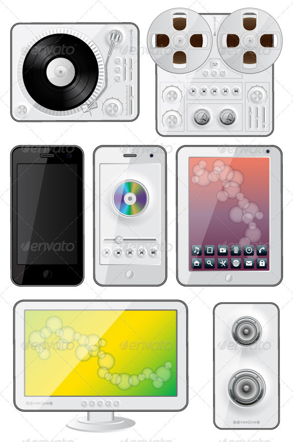 Isolated gadgets icons - Media Technology