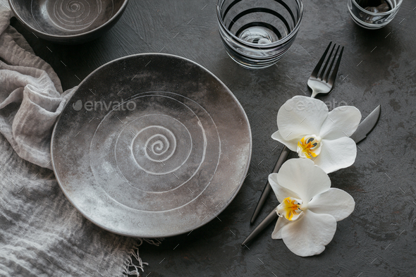 Elegance table setting in dark grey color - Stock Photo - Images