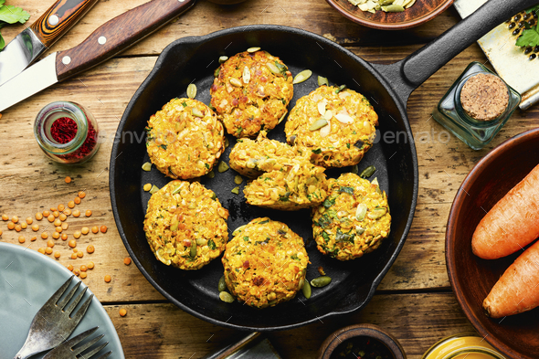 Vegetarian carrot and lentil cutlets - Stock Photo - Images
