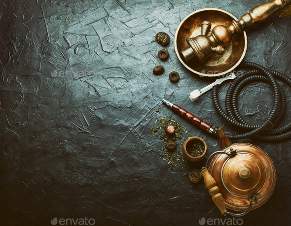 Oriental hookah with tea - Stock Photo - Images