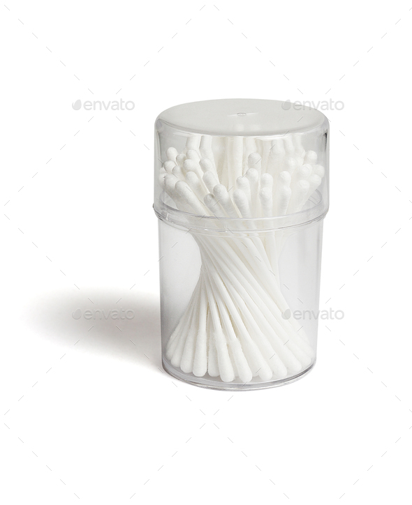 Cotton Buds in Plastic Container - Stock Photo - Images