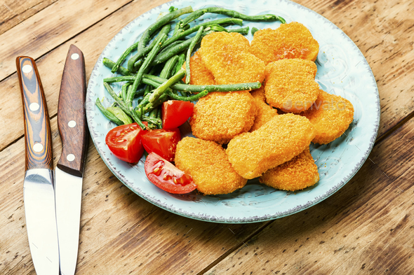 Nuggets with vegetables - Stock Photo - Images