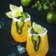 Spicy margarita cocktail with tequila, mango juice, jalapeno pepper, lime and salt - PhotoDune Item for Sale