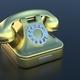 Retro telephone, golden old phone on black background, copy space. 3d illustration - PhotoDune Item for Sale