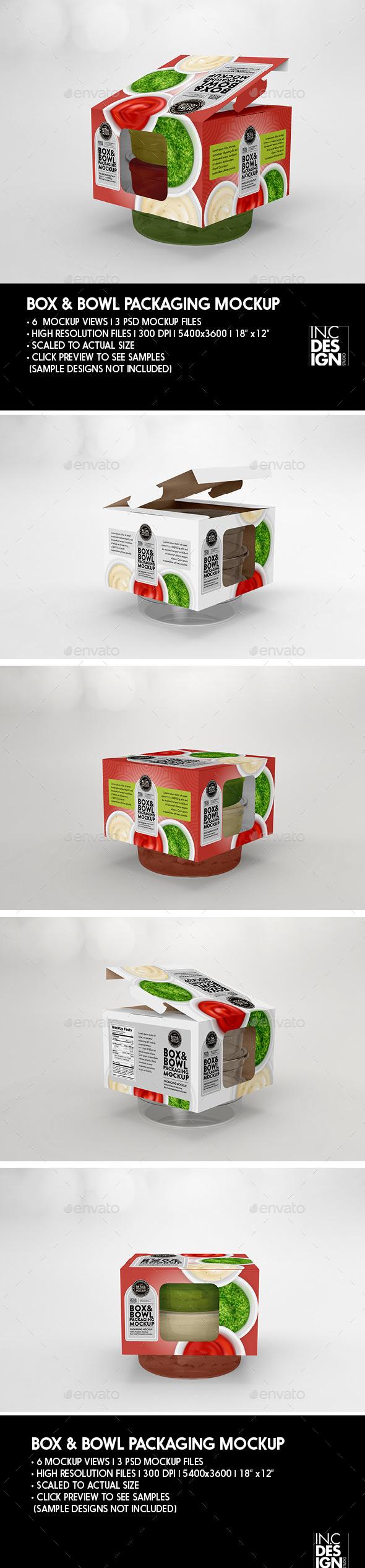 Retail Box and Bowl Packaging Mockup