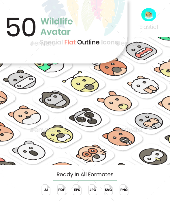 Wildlife Avatar Flat Outline Icons