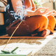 Woman doing yoga at home. Close up hands. - PhotoDune Item for Sale