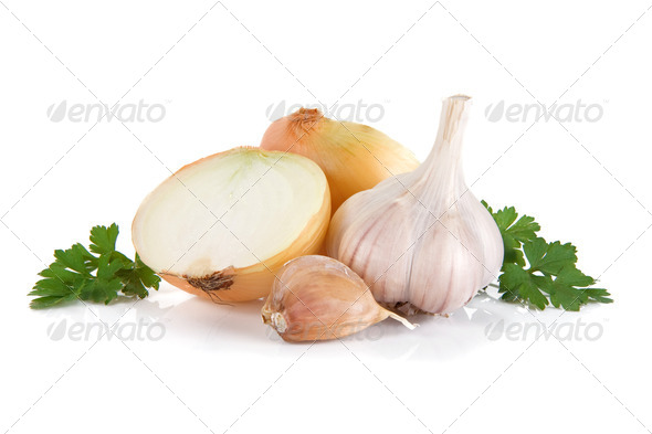 garlic, onion and green parsley isolated on white - Stock Photo - Images