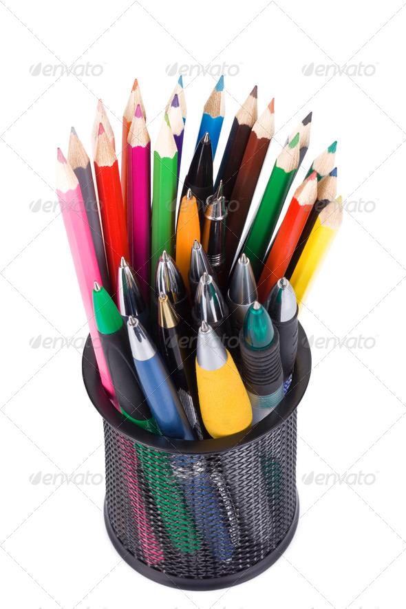 holder basket full of pencils - Stock Photo - Images