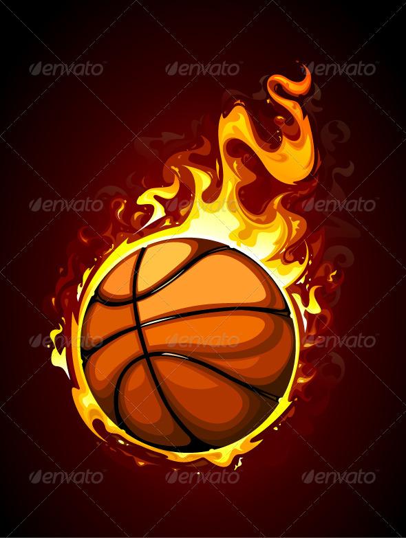 Burning basketball - Sports/Activity Conceptual