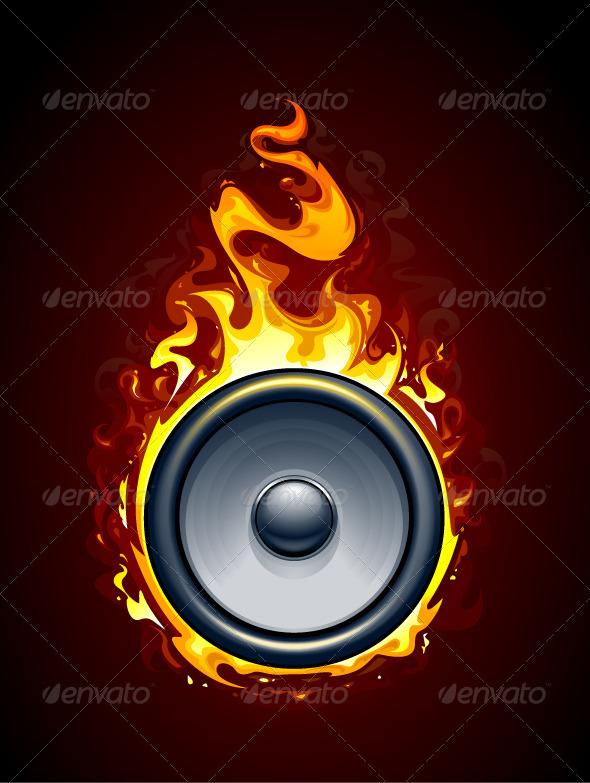 Burning speaker - Vectors