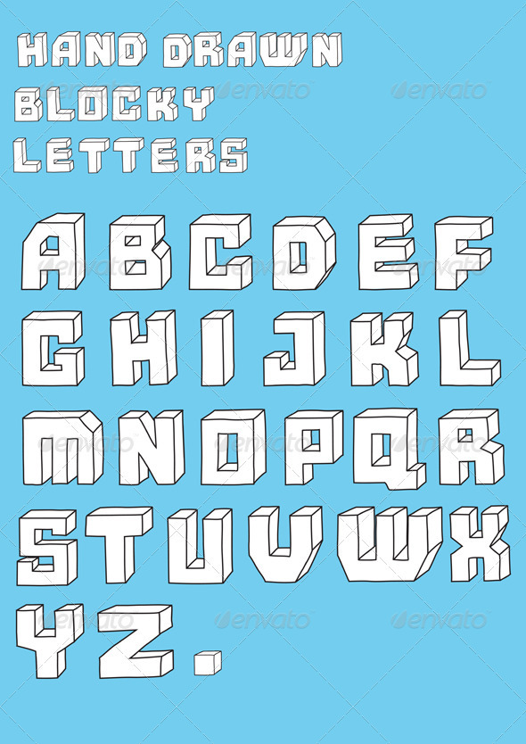 Blosky big alphabet letters  - Decorative Vectors