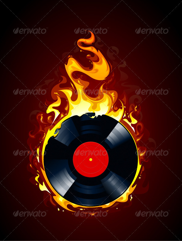 Burning vinyl record - Vectors