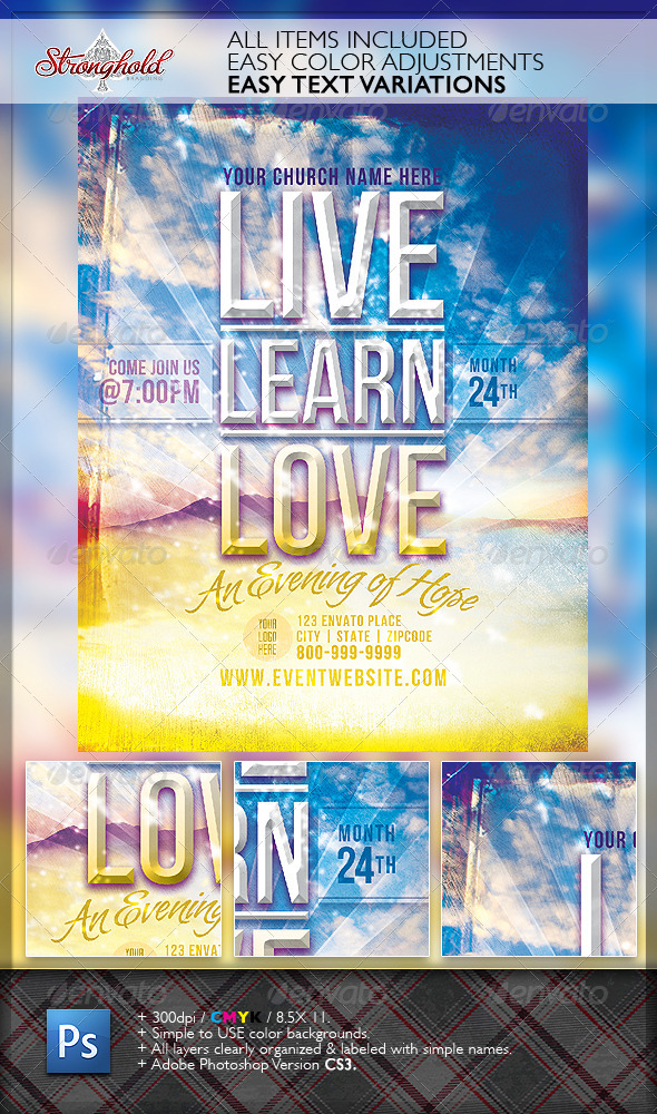Live Learn Love Flyer Template - Church Flyers