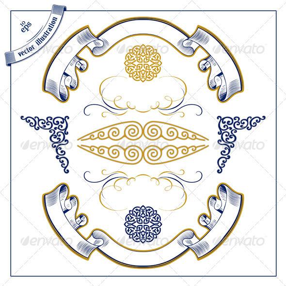 Decor Design Retro Set - Flourishes / Swirls Decorative