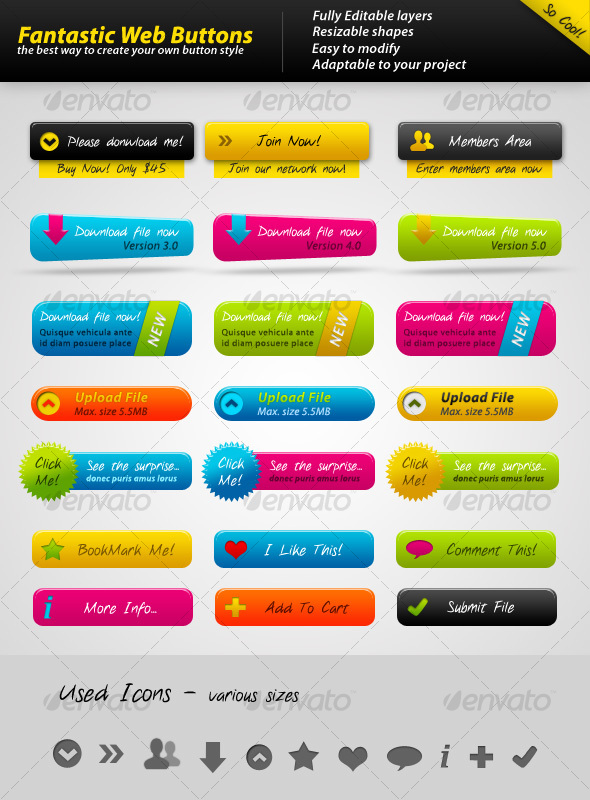 Fantastic Web Buttons - Buttons Web Elements