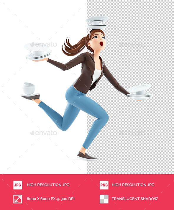 3D Cartoon Woman Balancing on one Leg with Tableware
