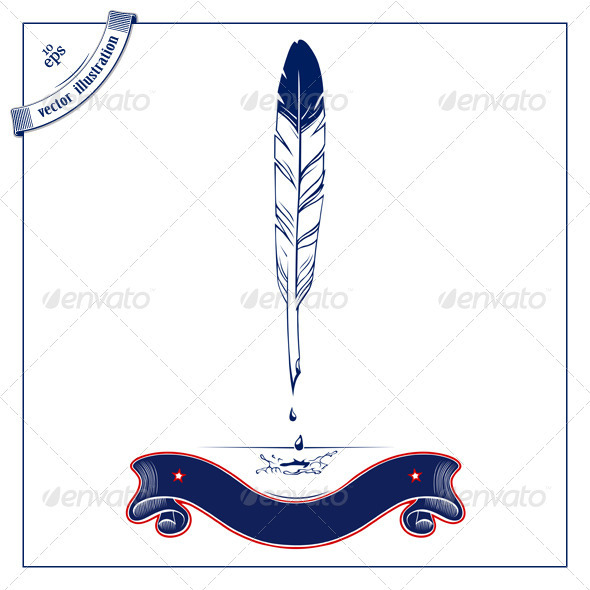 Pen Feather With Ribbon - Decorative Symbols Decorative