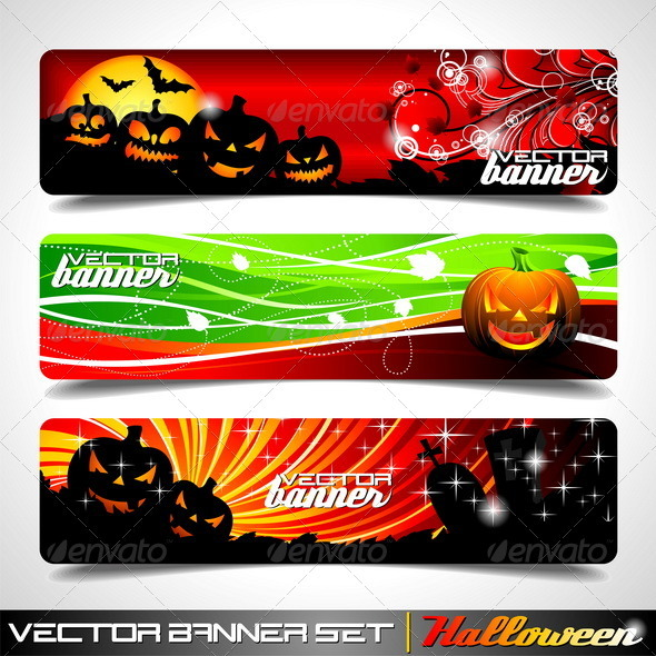 Vector banner set on a Halloween theme. - Halloween Seasons/Holidays