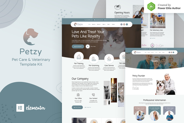Petzy – Pet Care & Veterinary Elementor Template Kit