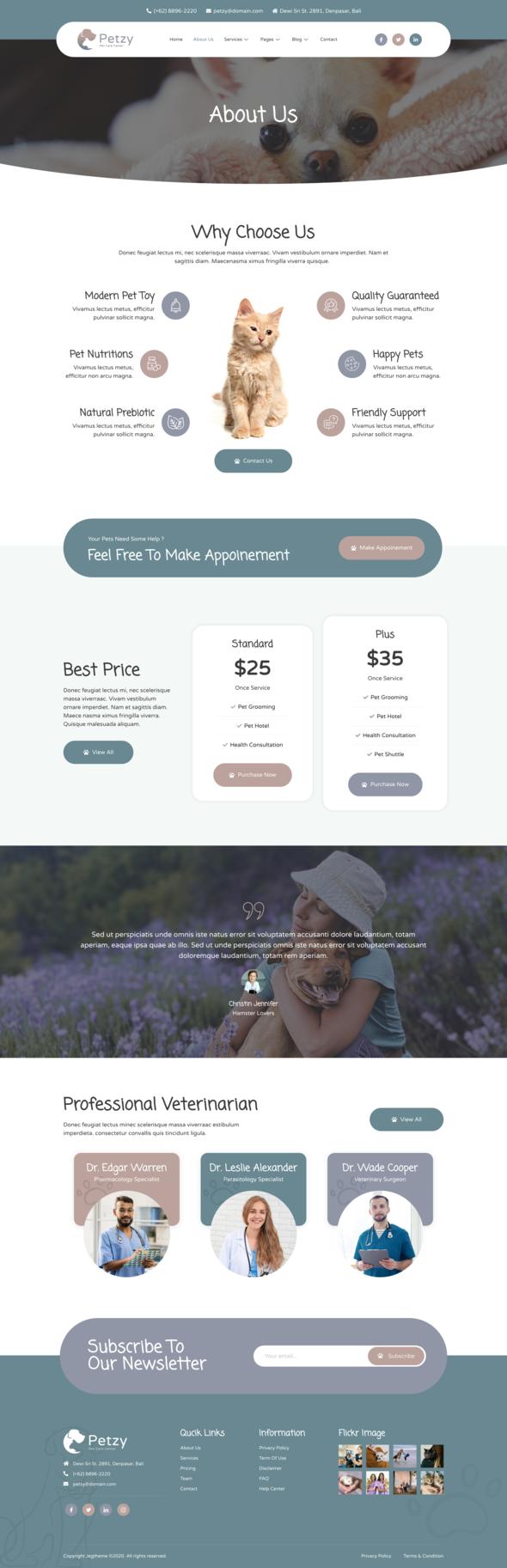 Petzy – Pet Care & Veterinary Elementor Template Kit