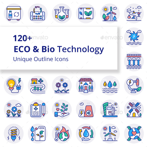 ECO and Bio Technology Unique Filled Round Icons