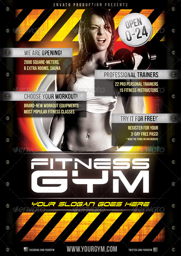 Fitness Gym Flyer Template By Danielkemeny  Graphicriver