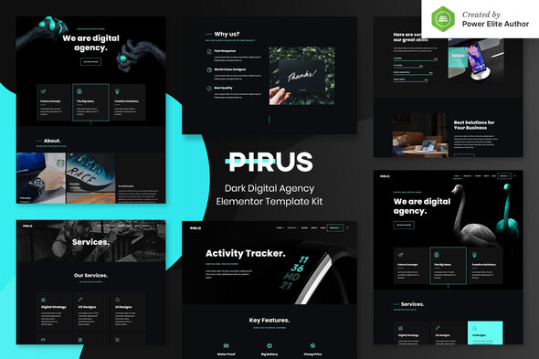 PIRUS – Dark Digital Agency Elementor Template Kit