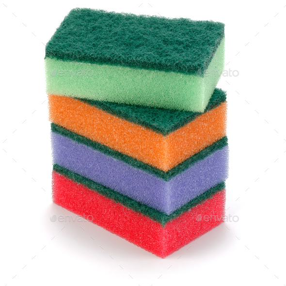Stacked sponges isolated on white background cutout - Stock Photo - Images