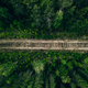 Aerial view of empty railway track through green forest in Finland - PhotoDune Item for Sale