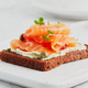 Smorrebrod - traditional Danish sandwiches. Black rye bread with salmon - PhotoDune Item for Sale