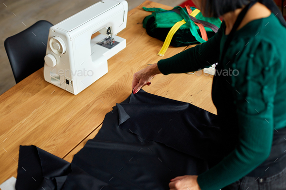 Step by step, Woman dressmaker female making sewing patterns