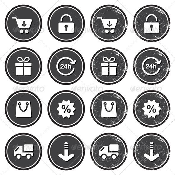 Shopping on internet retro badges - grunge style - Retro Technology