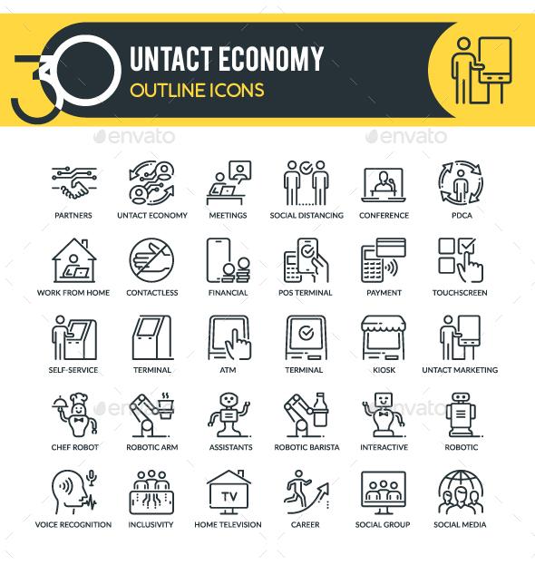 Untact Economy Outline Icons