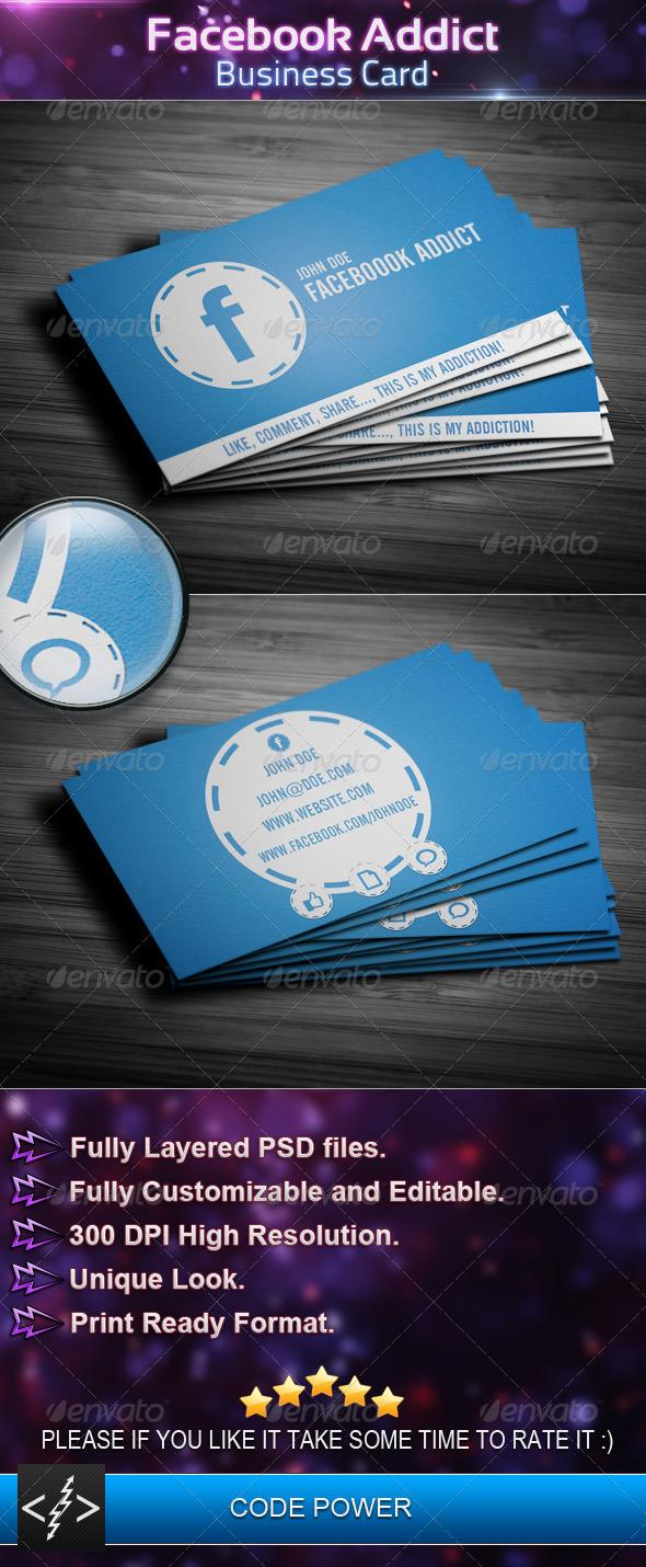 Facebook Addict - Business Card - Creative Business Cards