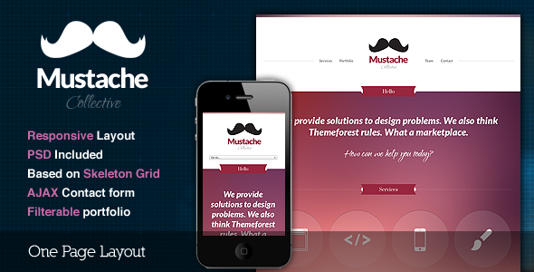 Mustache - Responsive One Page HTML Template by cssigniter | ThemeForest