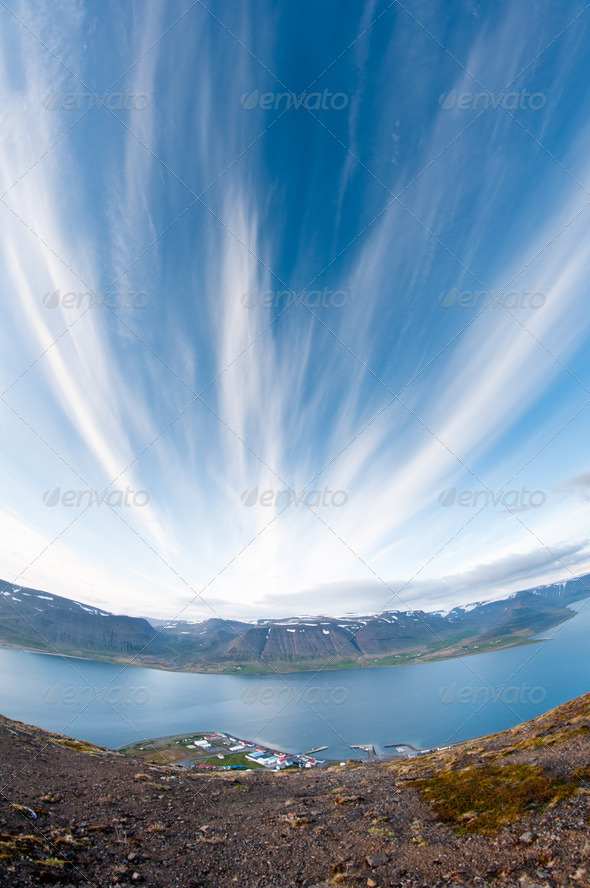 fjord surrounded by beautiful mountains - Stock Photo - Images