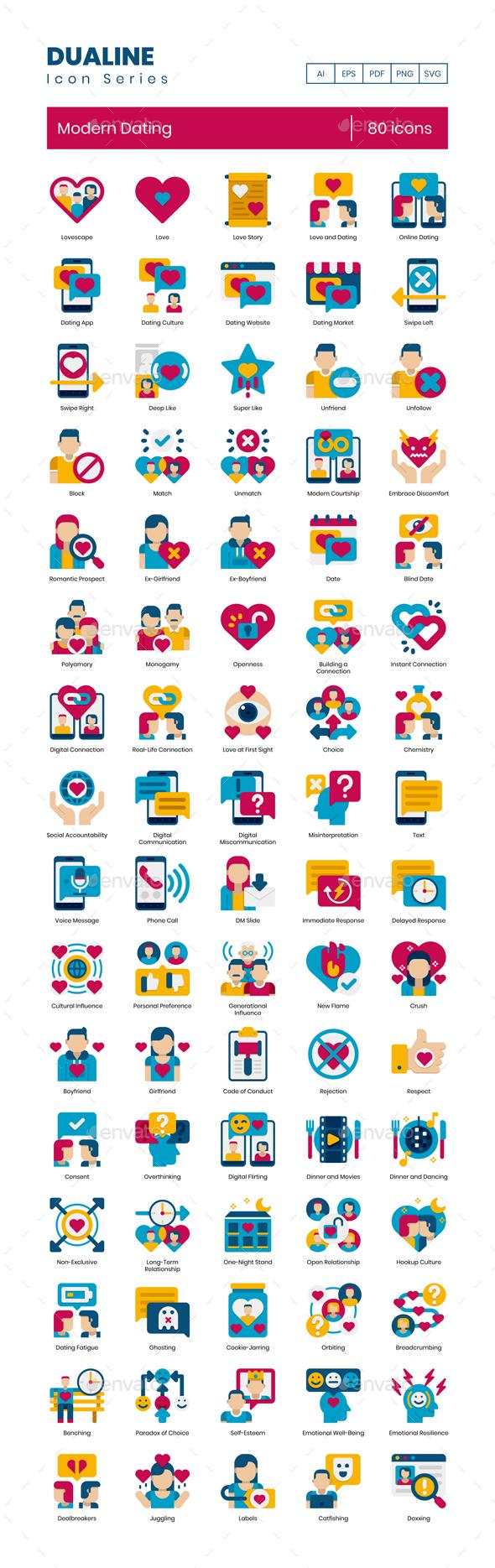 80 Modern Dating Icons   Dualine Flat Series