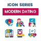 80 Modern Dating Icons | Dualine Flat Series